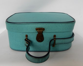 NOW SOLD Vintage  Vanity Case,  Suitcase, Blue , lovely to use for storage. Retro, shabby chic, vintage luggage