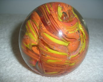 Orange Swirl Vintage Glass Paperweight handcrafted