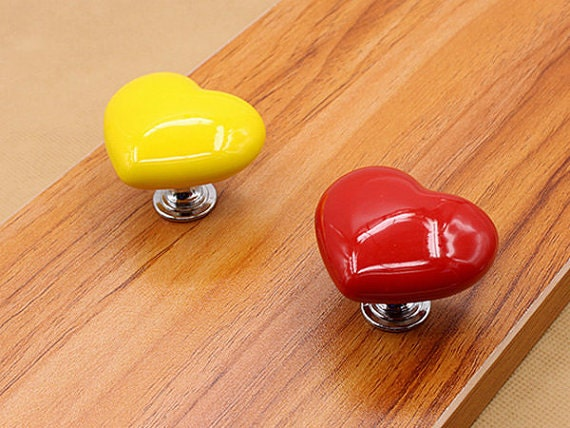 Knobs heart dresser drawer knobs pulls handles kitchen - Red kitchen cabinet knobs ...