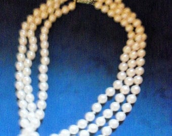 Vintage White Faux Pearl Multi-Strand Necklace Hand Knotted Japan