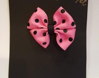 Handmande Pink Polka Dot Hair Bow