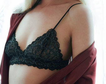 SALE 35% OFF Freya Bralette Handmade Padded Black Lace Bra Front Closing from Isadore Intimates London