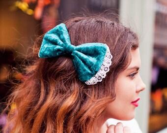 Blaugrün Velvet Haarschleife