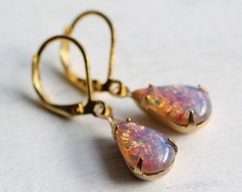 Pink Opal Earrings... Vintage Glass Fire Stone Teardrop