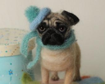 Pug/ felted pug dog/portrait sculpture dog/Memorial pet/sculpture figurine/dog sculpture custom/Pet portrait/pet likeness/3D pet portrait