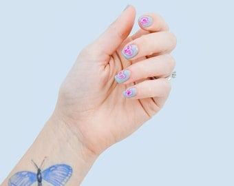 Autocollants à ongles toboggan cristal gemme: tatouage cristal choc nail art transferts pour sacs de fête d'enfants, cadeau de Noël carte ou wicca amoureux!