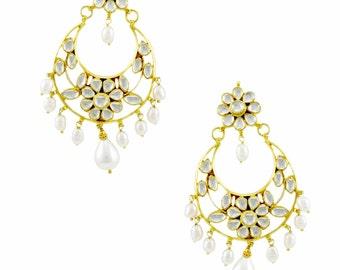 Chaandbali Pearl Droplet Birdal Wedding Kundan Earrings