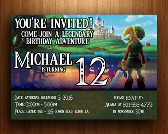 Legend of Zelda Birthday Invitation (Link Between Worlds) - Digital Printable File