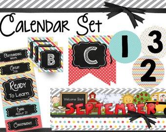 50% OFF SALE - Calendar - Classroom Set - Printable - Chalkboard - Instant Download - Kindergarten - Preschool