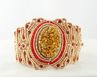 Beige Macrame Bracelet - Red Accent and Gold-colored Centerpiece