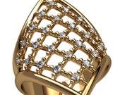 Yellow Gold Statement Ring, Unusual Women's Ring, Fashion Gold Ring, Exclusive Ring, Large Ring, Feminine Ring, Stunning Ladies Ring