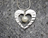 Heart pendant necklace ~ Fine Silver with a Fresh Water Pearl ~ lover gift, girlfriend present, wife anniversary, Mothering Sunday gift