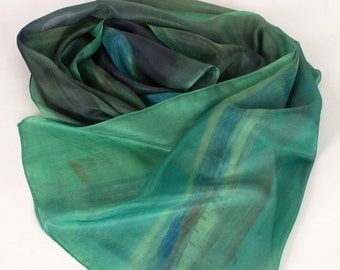 Green Silk scarf hand painted/ Blue Hyacinth scarf/ Long scarf/ Silk painting/ Luxury scarf in green shades/ Dark scarf with floral motives