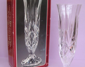 Vintage crystal glass bud vase, made in Italy