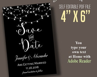 "4""x6"" Save the Date, Instant Download Self Editablet, Black & White Save the Date, Printable Editable Digital PDF File B915"