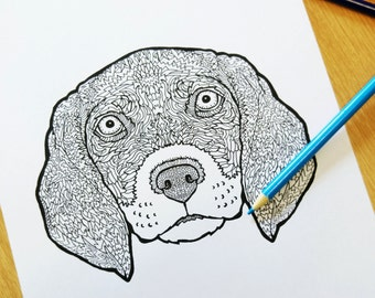 Beagle - Coloring Sheet - Detailed Dogs - Complicated Coloring