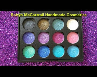 Vegan friendly, cruelty free highly pigmented eye shadows handmade 12 piece pallets