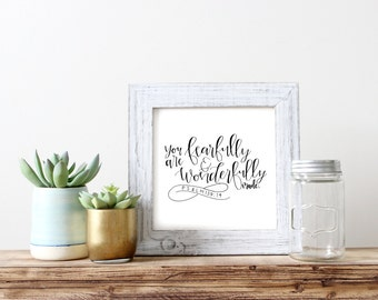 Fearfully and Wonderfully Made | Psalm 139 | Wall Art | Hand Lettered Print