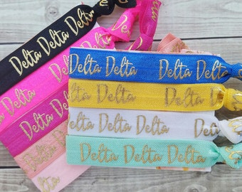 DELTA DELTA DELTA Words Hair Ties | Choose Your Own Hair Ties | 1 Hair Tie