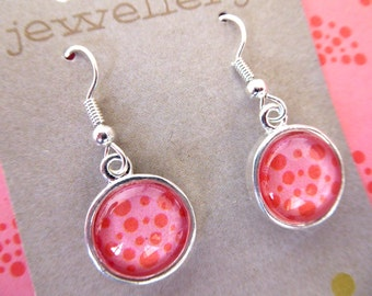 Pink Speckles Glass Dome Earrings