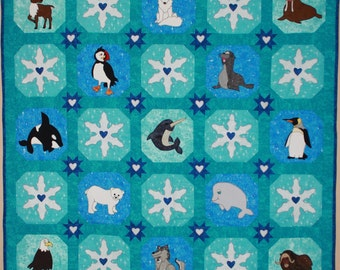Arctic or Polar animal applique PDF baby or child's quilt pattern; snowflake and snowball block pattern; Polar or winter quilt pattern