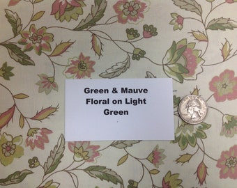 Green and Mauve Floral Fabric - 2 Yards