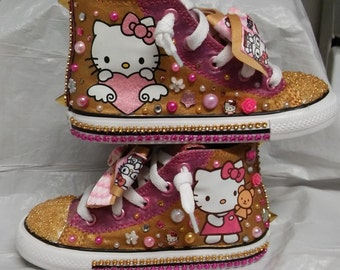 Pink And Gold Hello Kitty  Converse Remix