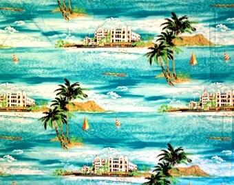 100% Cotton Fabric   Shamash & Sons   1998   Sailing Palm Trees Island   5.5 Yards