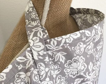 Nursing Cover Gray Floral -- Breastfeeding Cover Up Large Adjustable