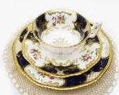 Cobalt Blue Coalport Batwing Trio, Hand Painted Floral Tea Cup and Saucer Trio, Rare Teacup Set, Gold Gilt, China Cabinet Decor, Bone China