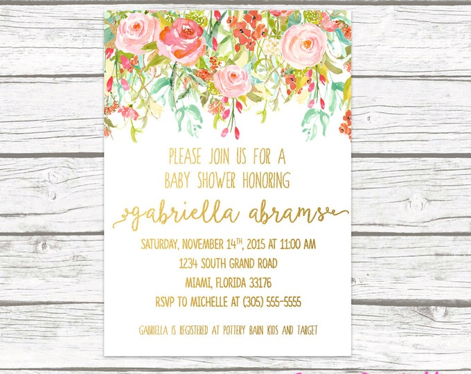 Spring Gold Foil Baby Shower Invitation, Floral Garden Girl Boy Baby Shower Calligraphy Invite, Pink Mint Coral Baby Shower, Printable