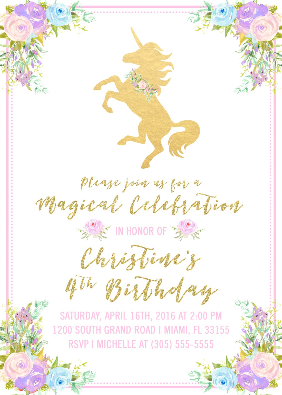 Unicorn Invitation Unicorn Birthday Invitation Girl 1st First – Unicorn Birthday Party Invitations