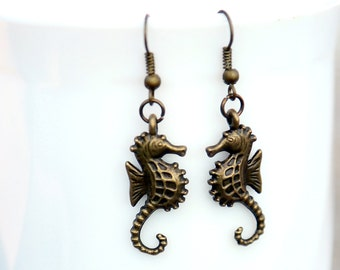 Bronze Plated Seahorse Earrings Seahorse Jewelry Nautical  Brass Seahorse earrings Summer jewelry
