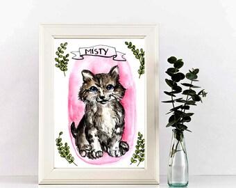 Custom pet portrait, Original a5 pet portrait, watercolor painting