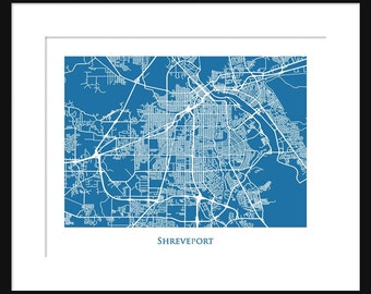 Shreveport Map - Louisiana - Print - Poster - Line Map