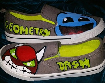 Geometry Dash painted shoes, boys painted shoes, kids hand painted shoes, geometry dash shoes, video game shoes, hand painted shoes for kids