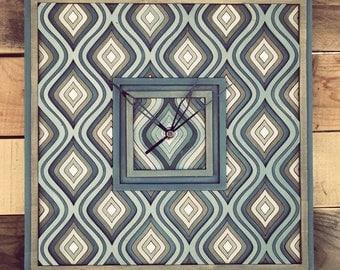 Wall clock, Wooden hand work, Retro, Wall art