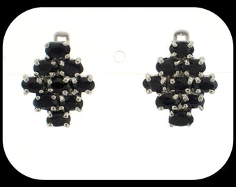 Brand New Cluster 3.24CT Midnight Blue Sapphire 925 Sterling Silver EARRINGS 3/4""
