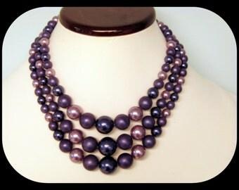 Vintage JAPAN 3 Strand Lavender, Lilac & Violet Lucite Bead NECKLACE 75.26GR