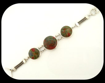 Estate Russian Unakite  925 Sterling Silver Bracelet 37.05GR Unusual Design