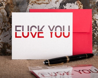 F*ck You, Love You · Red Envelope · One Risograph Greeting Card