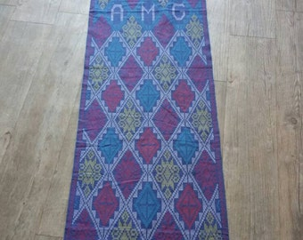 Beautiful handmade embroidered tablecloth! Blue purple red light yellow white