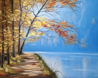 """Painting """"Blue Mist"""". Original Landscape Art Oil Painting On Canvas, Size: 28"""" x 22"""" (71 x 56cm)"""