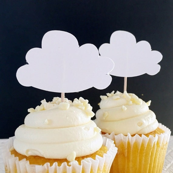 Cloud cupcake toppers up up and away theme hot air for Balloon cloud decoration