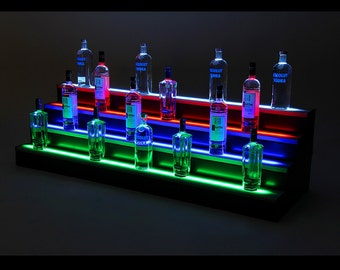 8ft, 4 Step LED Light Shelf Tier, Bottle Step, Bar Bottle Organizer