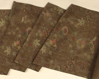 Vintage Japanese Kimono Fabric Chirimen Maple leaf Chrysanthemum