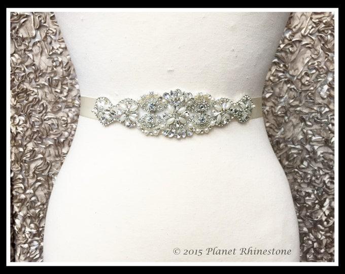 DIY Bridal Sash - Wedding Dress Sash Belt Applique - Rhinestone and Pearl Wedding Sash - White Rhinestone Bridal Sash #0303