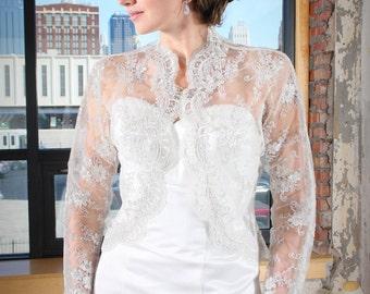 Luxury Lace Wedding Jacket, Bolero Jacket, Lace Jacket, Lace Wedding Shawl, Lace Bridal Shrug, Bridal Bolero, Wedding Jackets