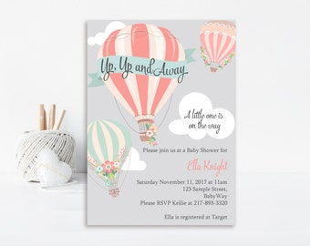 Up Up and Away Baby Shower Invitation, Hot Air Balloon Invitation, Baby Shower Invite, Printable Invitation, Balloon Invitation, Girl Baby