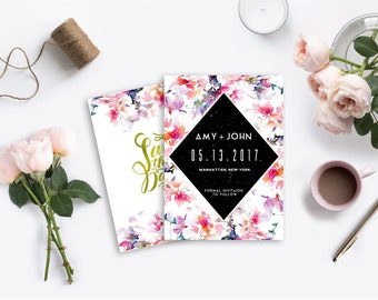 Floral Watercolor Printable Gold Wedding Save the Dates PSD Customizable Photoshop Template